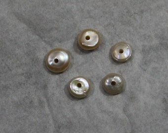 Peachy pink Coin Pearls center drilled with 2mm hole. natural color
