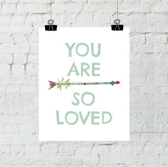 You Are So Loved, whimsical print, nursery decor arrow wall art printable, instant digital download, The Copper Anchor- ADOPTION FUNDRAISER