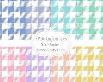 8 Pastel Gingham Papers.