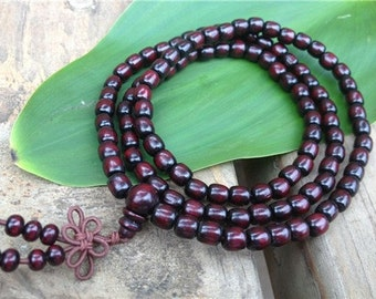 """Delicate Tibetan 108 Cylinder Rosewood Prayer Beads Buddhist Mala Necklace, 2 sets total 10 prayer counters, 25"""""""