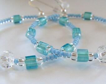 Hoop Earrings, Beaded Earrings, Boho Earrings, Aqua, Light Blue, Gypsy Earrings, Bohemian Earrings