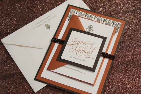 Autumn Opulence Wedding Invitation Suite - Glitter, Brown, Copper, Bronze, Ivory, Orange