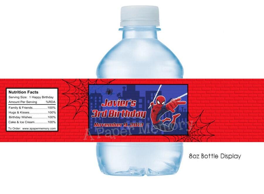 Spiderman Water Bottle Labels Diy Printable