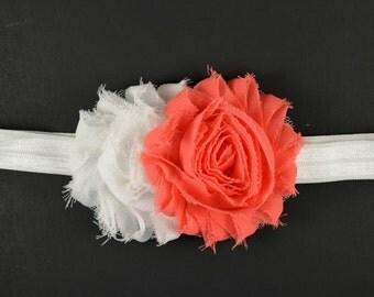 Coral and White Headband - Baby Headband - Toddler Headband - Adult Headband -