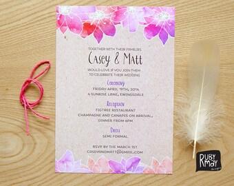 Watercolour Wedding Invitation, printed invitation sample, kraft wedding invitation, destination, beach wedding, tropical floral invitation
