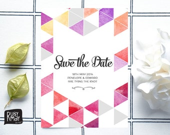 Beach Wedding Save the Date, Geometric Save the Date - digital/printed, modern save the date, watercolor wedding invite, ombre save the date