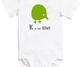 Baby Boy/Girl/Unisex Alphabet Bodysuit K is for Kiwi, New Zealand Onesie