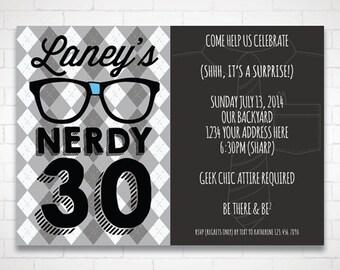DIY Nerdy Thirty Birthday Invitation