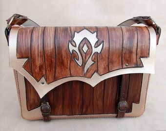 World of Warcraft-Leather Messenger bag-FREE Shipping-For The Horde-WOW-Geekery-tooled leather purse-GEEK leather bag by ForgianticaLeather