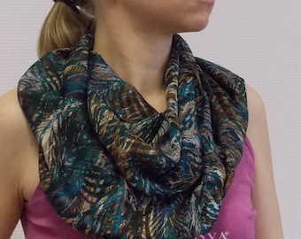 Silk chiffon infinity scarf - Circle scarf for women - circle scarves - blue brown scarf