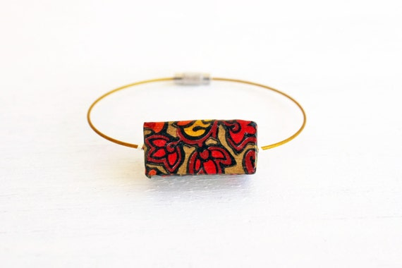 Paisley wooden bracelet- gold wire colorful flowers - red geometric bangle - bohemian hippie navajo style - decoupage necklace - spring