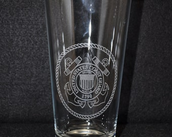 Laser engraved US Coast Guard water / iced tea glass