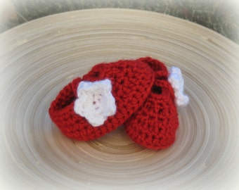 Red and White MaryJane Crochet Slippers