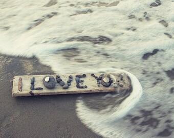 I love you - sea photography, print.