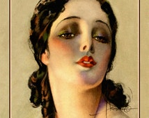Gorgeous Deco Beauty Print, Portrait by Rolf Armstrong, girl with black hair curls, Flapper vamp, boudoir lady, Giclee Fine Art Print 11x14