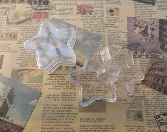 set of 10--mini clear plastic box--pentagram shape plastic box--plastic jewelry box--38x38x13mm--OC3027-10