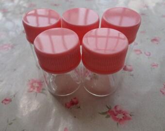 3 colors cap choice--50pcs 22x30mm clear glass bottle vial charm mini glass bottle-glass bottle with spiral plastic caps--OC3063-50