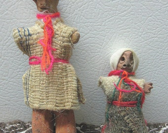 Clay Indigenous Figures in Traditional Ecuadorian Clothing