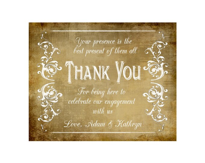 Printable Thank You for celebrating our engagement with us Personalized w/ bride groom names - DIY - Vintage Victoria Collection