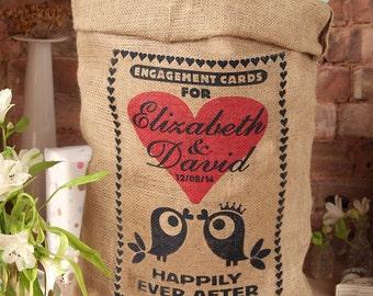 Personalized engagement card post box sack. Burlap card holder, wishing well from HessianandBurlap