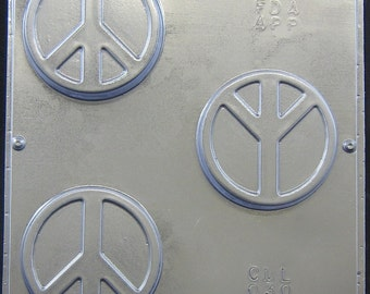 "Peace Sign Mold for Soap or Chocolate 3"" Diameter x 3/4"" 030"