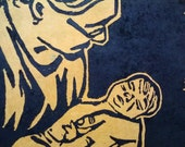 Father & Child: A linocut print in black ink