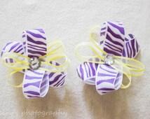 Yellow and Purple Zebra print flower Hair, Zebra print hair bow, Purple and Yellow Bow, Baby girl bow