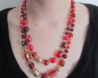 Vintage Double Strand red and pink Necklace with matching earrings