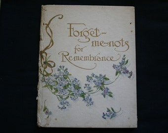 Antique Victorian Poem/Poetry Forget Me - Nots Book