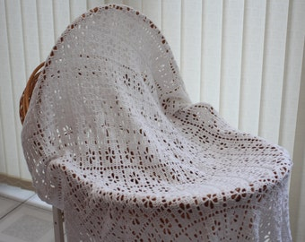 Hand Crochet Square Christening Shawl / baby blanket crocheted from a vintage pattern