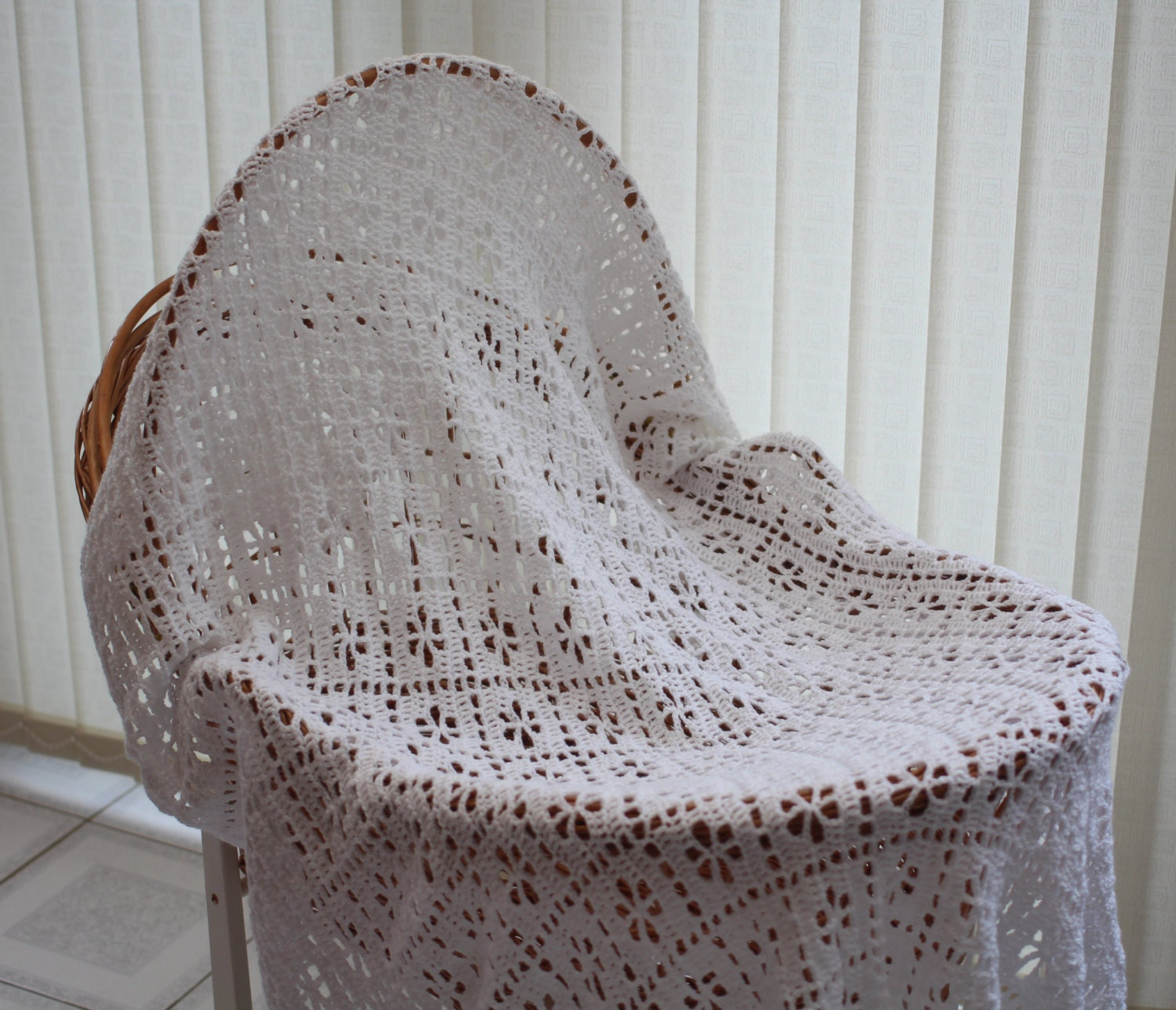 Hand Crochet Square Christening Shawl / baby blanket crocheted