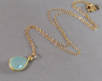 Aqua Chalcedony,Necklace,Chalcedony Necklace,Gold Necklace, Birtstone,Birthstone Necklace,Chalcedony Pendant,Gold Fillled. SeaMaidenJewelry