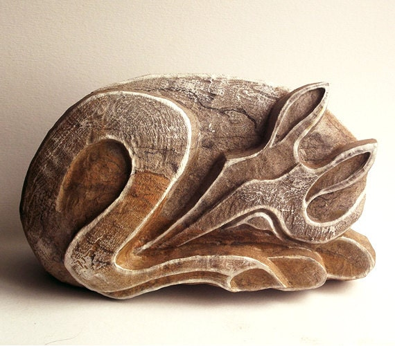 Carved Stone Statue : Stone sculpture hand carved deer statue