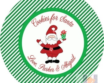 Personalized Santa Striped Cookie Kids Plate. Start a FUN holiday tradition with a plate customized with your family name. Great for gifts