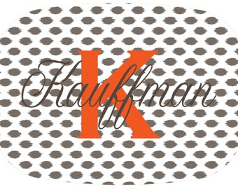 Personalized Brown and Orange Ikat Serving Platter. Be the perfect hostess and entertain with style! A custom, unique and fun gift idea!