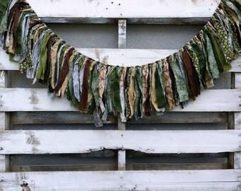 Woodland Rag Tie Garland, Woodland Fabric Banner, Woodland Decor, Rag Garland