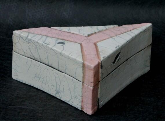 Raku Fired, Art Deco Style, Triangle Shaped Box