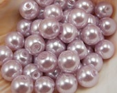 10mm Glass Pearls - Lilac Purple - 40 pieces - Light Purple
