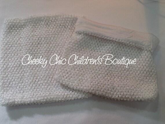 LINED 10x9 inch WHITE Crochet Tutu Dress Tube Top [LCB10WH]