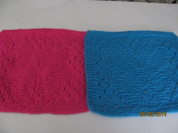 Knitting Pattern Butterfly Dishcloth : Knit Dishcloth Cotton Knit Pattern Butterfly Eyelet by AMailys