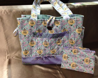 Bow Tucks Tote,  Mint Green Quilted Purse, Asian Lanterns Patterned Fabric Handbag