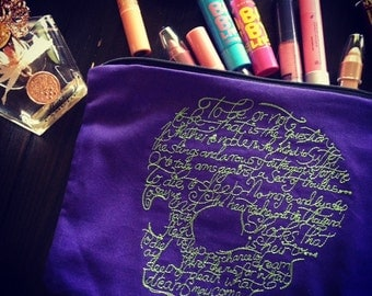 Purple Skull Bag, Shakespeare Poetry, Pouch, Cosmetic Bag, Travel Pouch, Jewelry pouch, Skull pouch, Skull embroidery, Unique gift idea