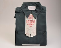 NOS Deadstock Mens Vintage 60s Reliance Permanent Press Union Made Green  Work Shirt Work Wear 15.5 M
