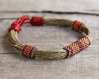 African jewelry Summer Bracelet, Linen Jewelry Ethnic Bracelet, Red Bracelet, Organic Jewelry, Designer Bracelet, Seed Bead Bracelet