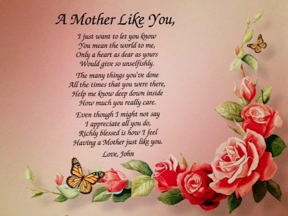 Gift for mom mother 39 s day gift personalized poem gift for Things to get mother for christmas