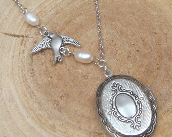 Silver Bird Pearl Locket Necklace Victorian Jewelry Gift Vintage Style