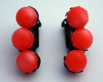 Vintage Orange Moonglow Earrings, Clip On Earrings