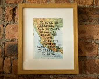 Hans Christian Andersen Inspirational Travel Quote Print - Hand-Pulled Screenprint.