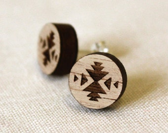 Navaho - Wood Earring Studs with Sterling Silver posts - Navajo tribal - laser cut