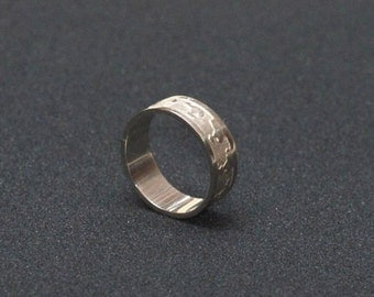 Handmade, Etched, Nickel Silver, Ring. Made to order